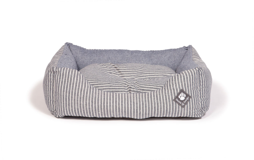 Maritime Snuggle Dog Bed Blue Denim with Blue / Cream Stripe