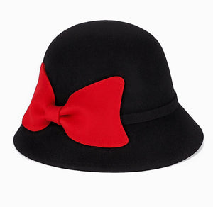 Woolen felt big bow cloche