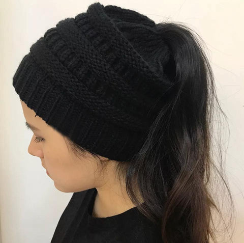 Warm winter ponytail beanie