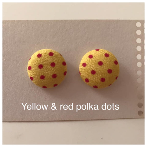 Fabric button colourful earrings