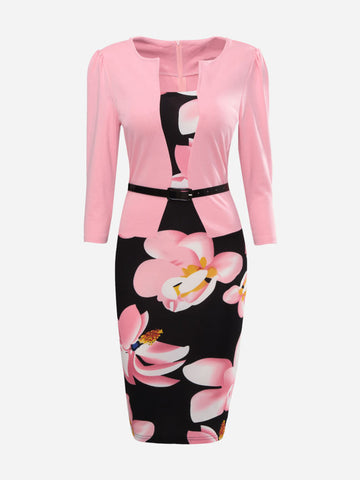 Floral printed fake two piece bodycon dress Pink