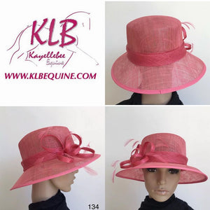 Pale red sinamay hat