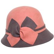 Two tone wool felt cloche with bow