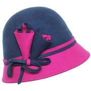 Two tone wool felt cloche with lily flowers