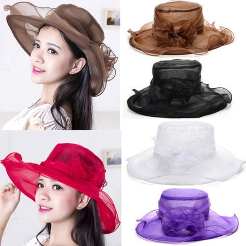 Summer wide brim mesh flower hat