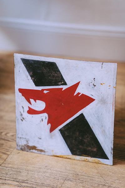 Hand Painted Wolf's Head Motor Oil Sign
