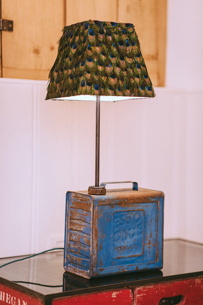 Esso Oil Can Lamp With Peacock Feather Shade