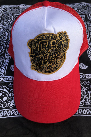 Rust And The Wolf Logo Red Trucker Cap