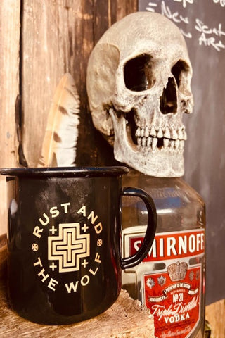 Rust And The Wolf Enamel Mug