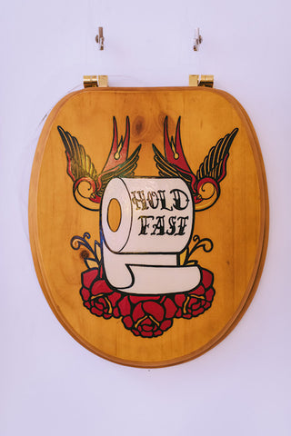 """Hold Fast"" Hand Painted Loo Seat"