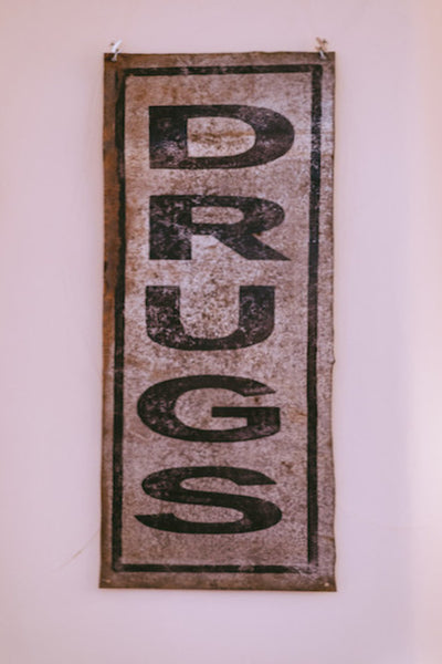 Hand Painted Vintage Style DRUGS Sign