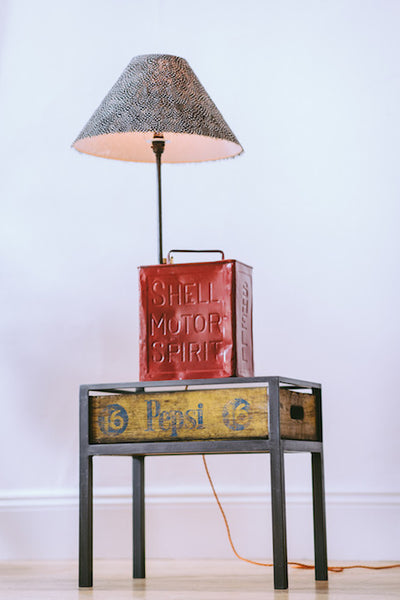 Shell Oil Can Lamp With Guinea Fowl Shade