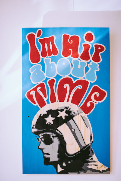 "Hand Painted Easy Rider Pop Art Sign ""Peter"""