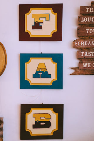 Fairground Style Hand Painted FAB Letters
