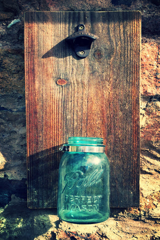 """Moonshine"" Jar Rustic Bottle Opener"