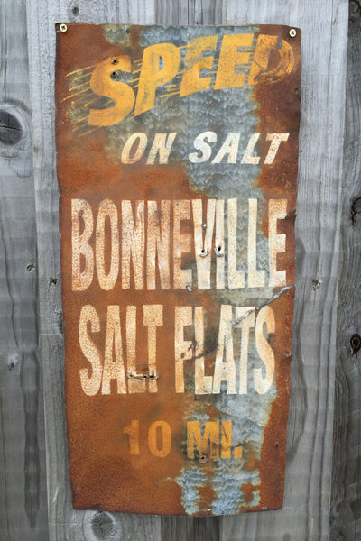 Hand Painted Bonneville Salt Flats Sign