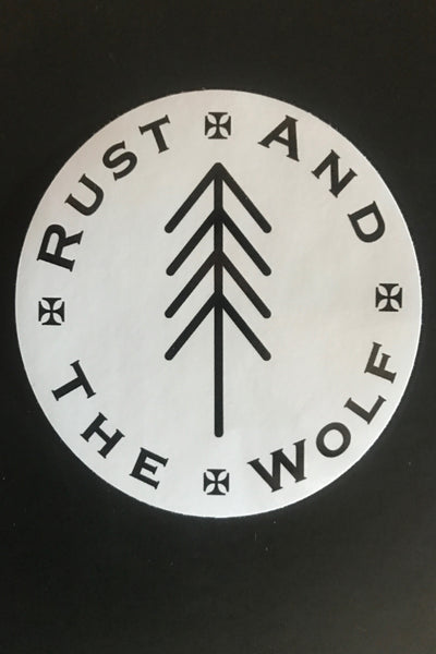 """Rust And The Wolf"" Tree Logo Sticker"