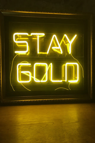 "Neon ""Stay Gold"" Framed Sign"