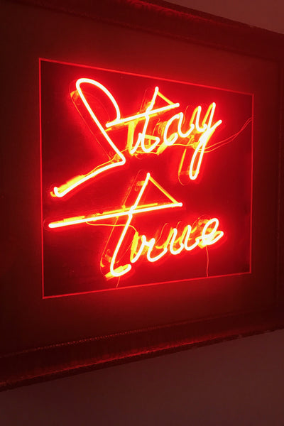 "Neon ""Stay True"" Gold Framed Sign"