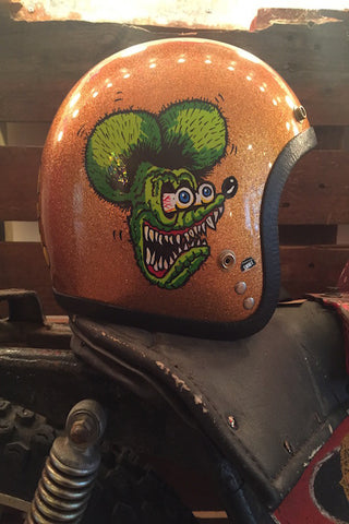 "Gold Glitter Hand Painted 1970's ""Rat Fink"" Chopper Helmet"