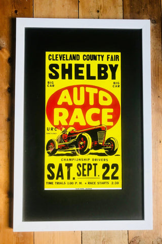 Vintage Framed Racing Poster