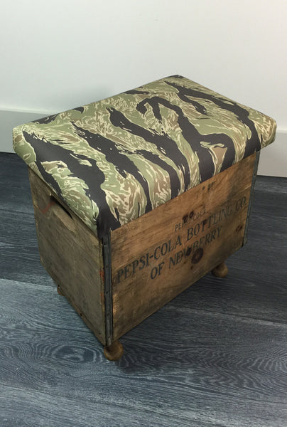 Pepsi Cola Tiger Stripe Camo Foot Stool