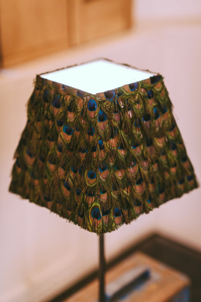 Trimmed Peacock Feather Lampshade