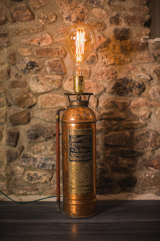 1930's Copper and Brass Fire Extinguisher Lamp
