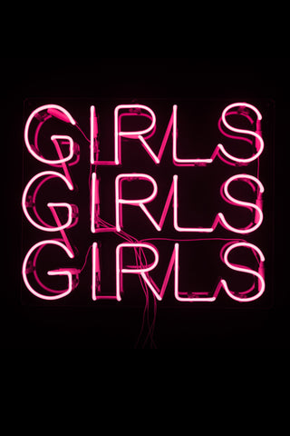 """Girls Girls Girls"" Pink Neon Sign"