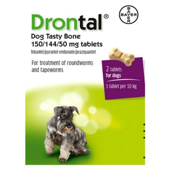 Drontal Dog Tasty Bone 150/144/50mg Tablets 2