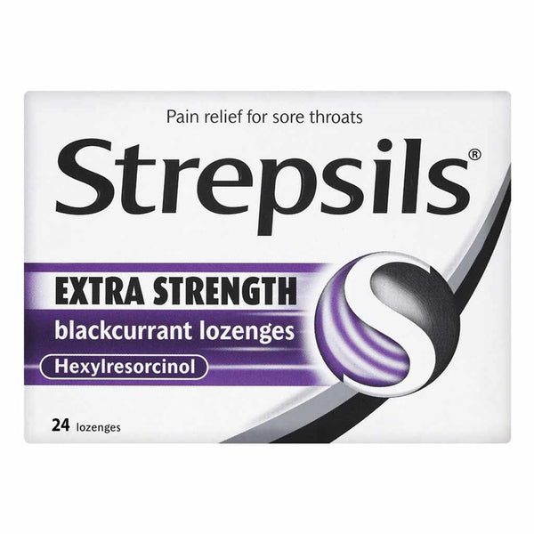 Strepsils Lozenges Extra Blackcurrant Pack of 24