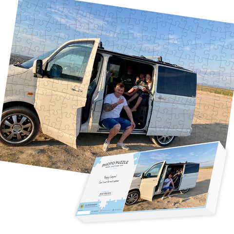 Happy Camper Gift - Personalised 200 piece Photo Jigsaw Puzzle