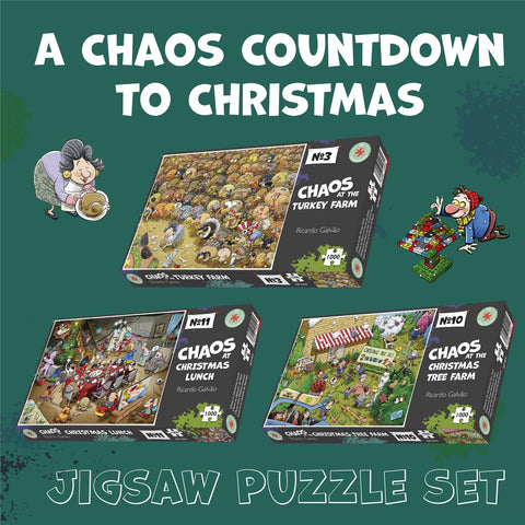 Chaos Countdown To Christmas 3 x 1000 Piece Jigsaw Puzzle Set