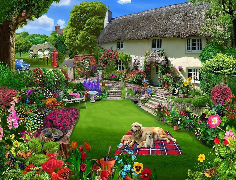 Dogs in a cottage garden jigsaw puzzle