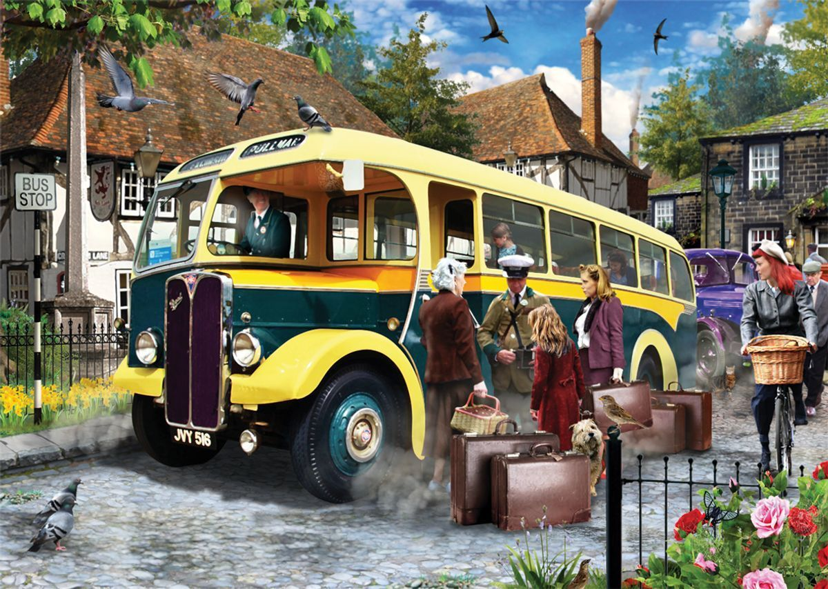 Catching the Bus - Falcon de Luxe 500 Piece Jigsaw Puzzle