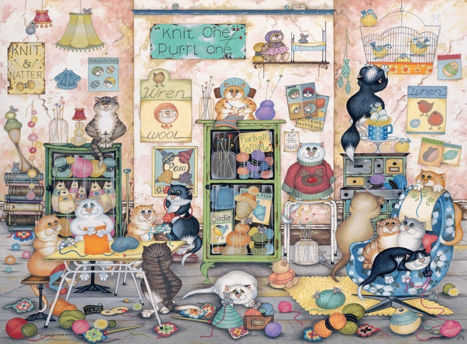 Crazy Cats Vintage - Knit one, Purrl one 500 Piece Jigsaw Puzzle
