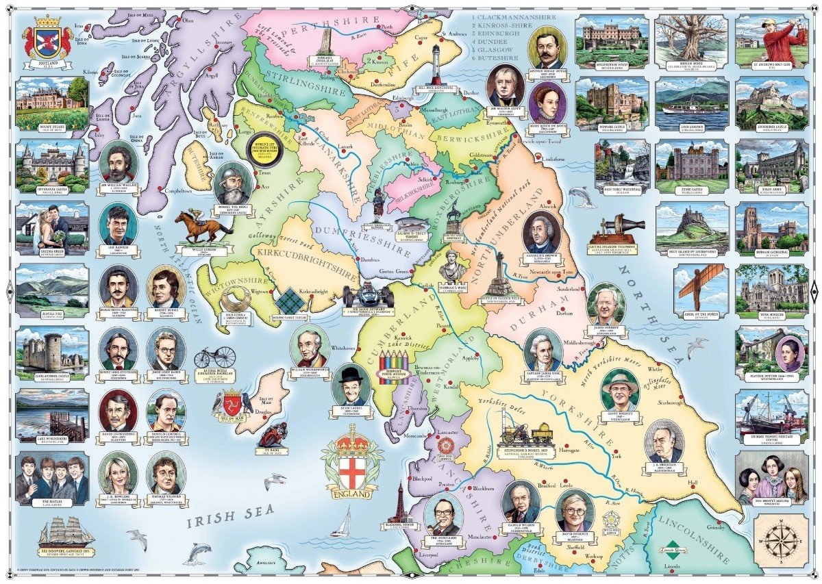 Our Native Lands No.2, The North & Southern Scotland 1000 Piece Jigsaw Puzzle