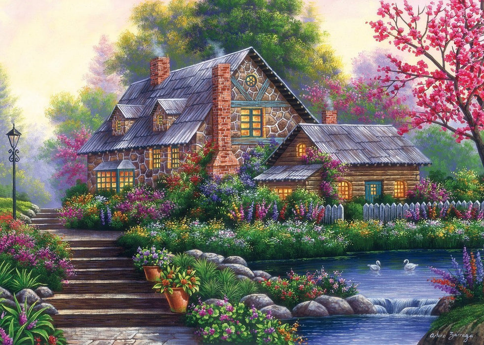 Romantic Cottage 1000 Piece Jigsaw Puzzle
