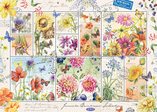 Flower Stamps - Summer 1000 Piece Jigsaw Puzzle