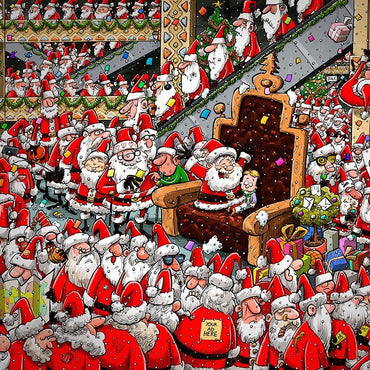 Chaos at Santa's Grotto - No. 14 1000 or 500XL Christmas jigsaw puzzle