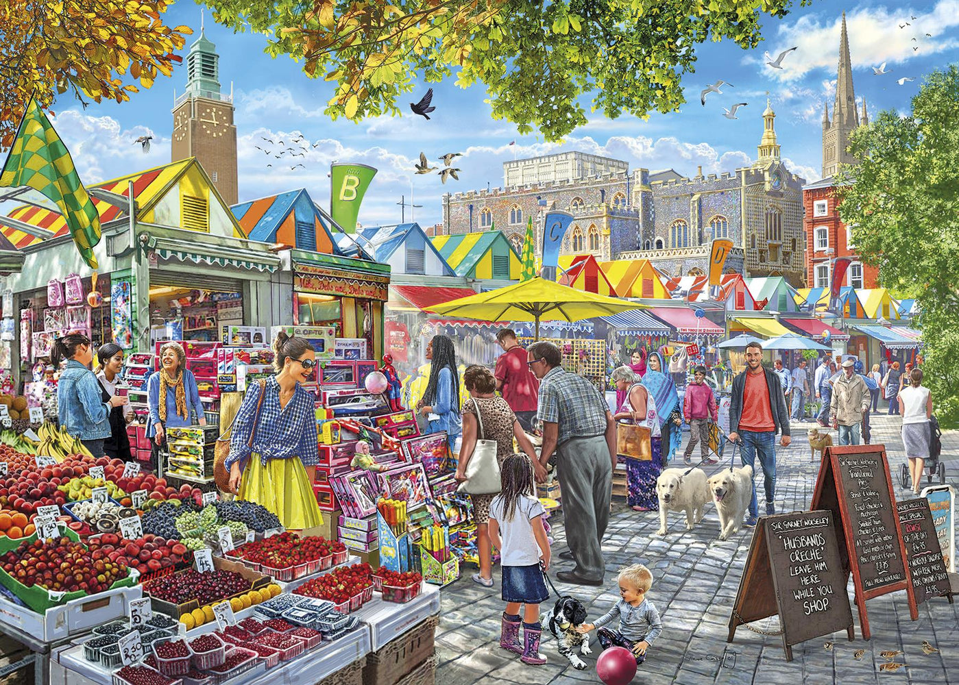 Market Day, Norwich 1000 Piece Jigsaw Puzzle