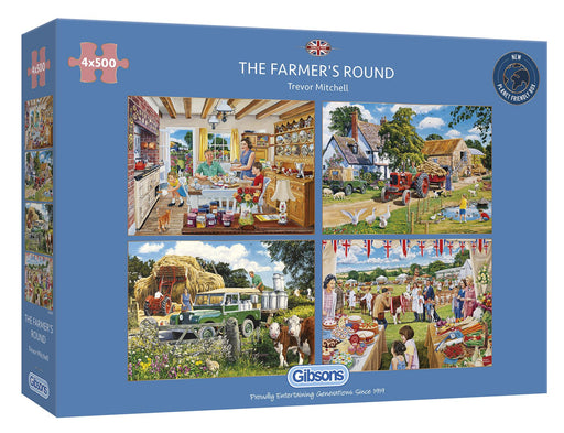 Gibsons The Farmer's Round 4x500 piece Jigsaw Puzzle - box
