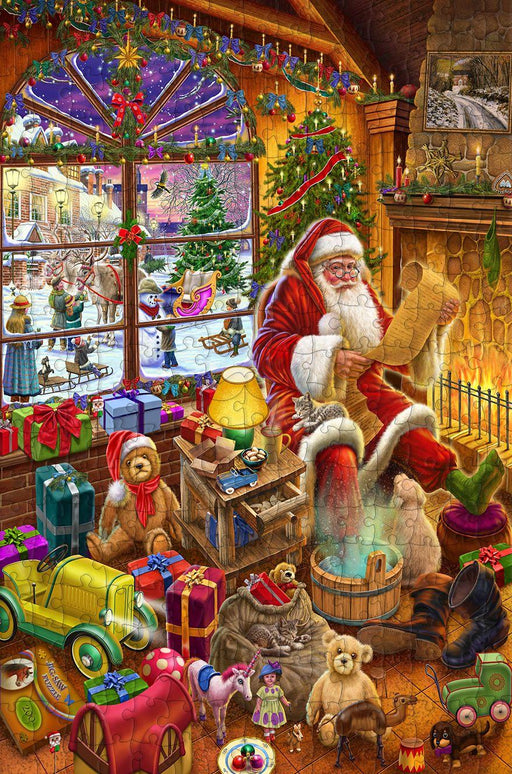 Santa's Christmas list - 300 Piece Wooden Jigsaw Puzzle CU