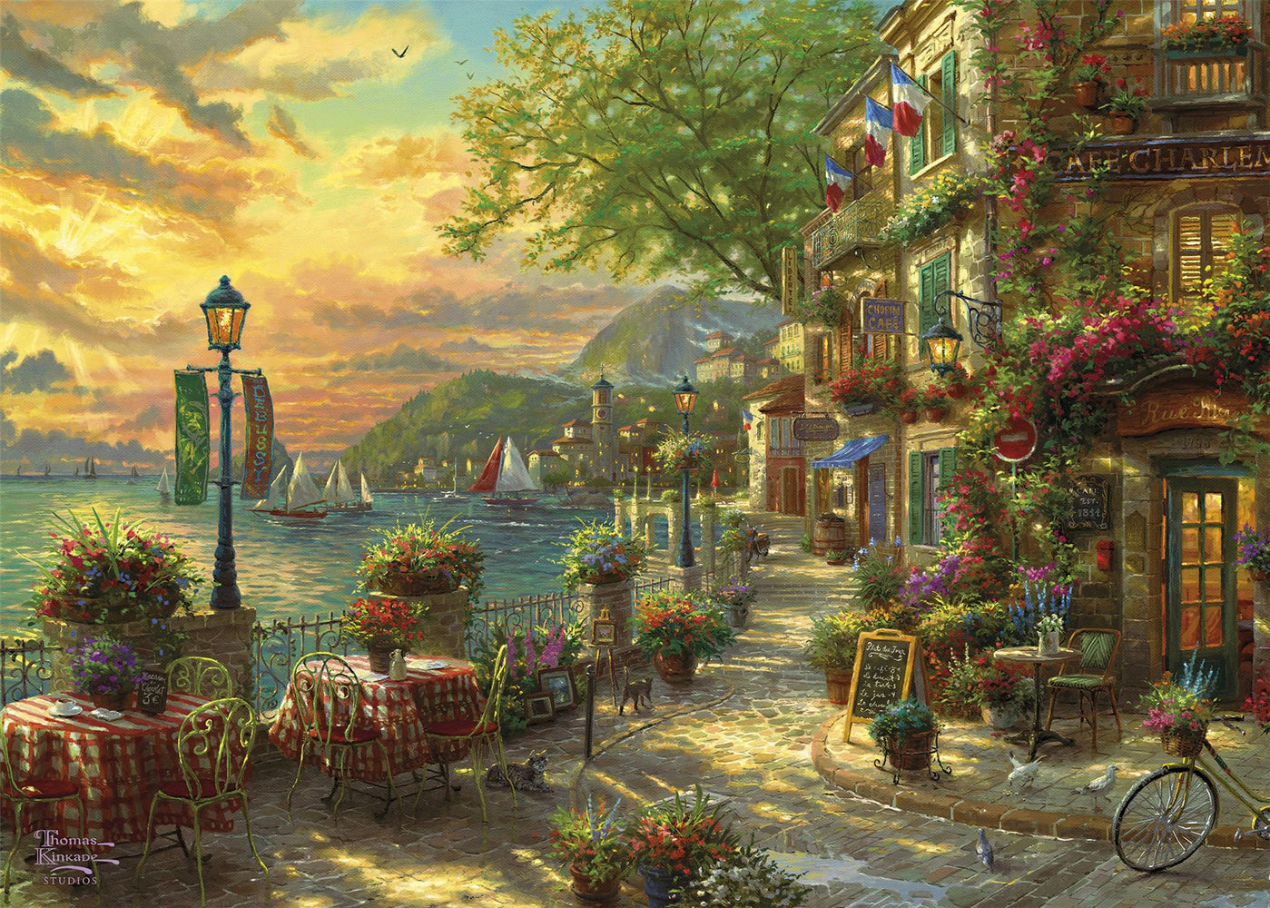 Gibsons French Riviera Cafe 1000 piece Jigsaw Puzzle