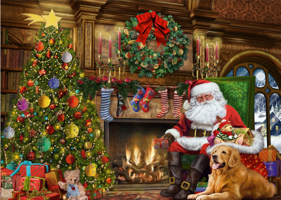 Falcon Santa by the Christmas Tree 500 Piece Jigsaw Puzzle