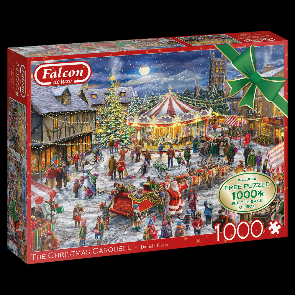 Falcon de Luxe 'The Christmas Carousel' Limited Edition 2 x 1000 Piece Jigsaw Puzzle