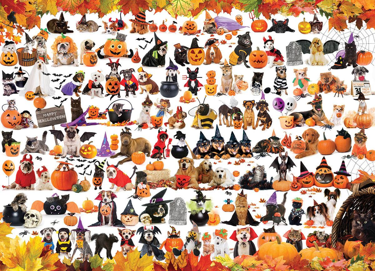 Halloween Puppies and Kittens 1000 Piece Jigsaw Puzzle