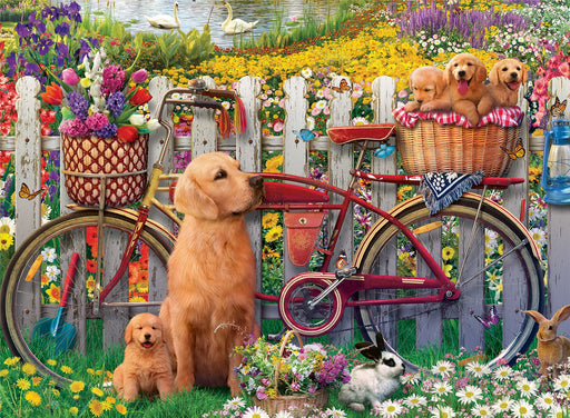 Cute Dogs in the Garden 500 Piece Jigsaw Puzzle