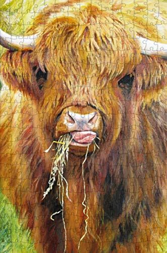 Highland Cow 300 Piece Wooden Jigsaw Puzzle