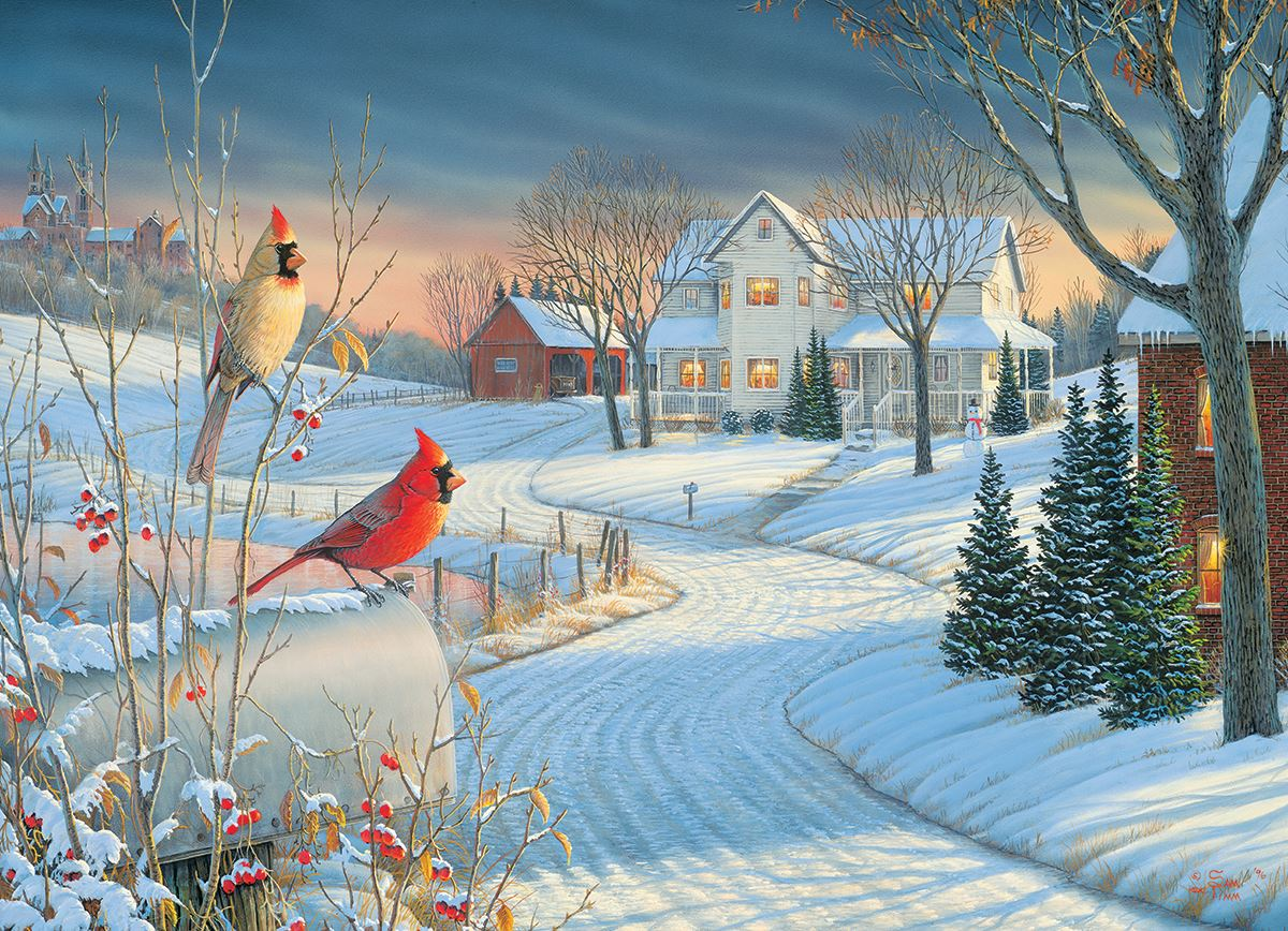 Country Cardinals by Sam Timm 1000 Piece Jigsaw Puzzle